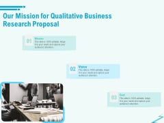Qualitative Market Research Study Our Mission For Qualitative Business Research Proposal Demonstration PDF
