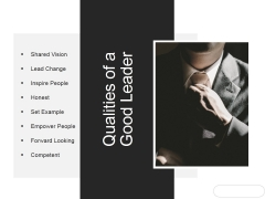 Qualities Of A Good Leader Ppt PowerPoint Presentation Layout