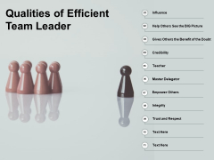 Qualities Of Efficient Team Leader Ppt PowerPoint Presentation Inspiration Picture