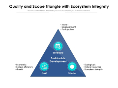 Quality And Scope Triangle With Ecosystem Integrety Ppt PowerPoint Presentation Infographic Template Graphic Tips PDF