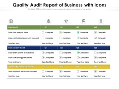 Quality Audit Report Of Business With Icons Ppt PowerPoint Presentation Layouts Inspiration PDF