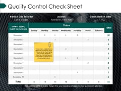 Quality Control Check Sheet Ppt PowerPoint Presentation Icon Vector