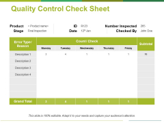 Quality Control Check Sheet Template 1 Ppt PowerPoint Presentation Model Guide
