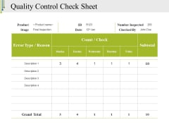 Quality Control Check Sheet Template 2 Ppt PowerPoint Presentation File Gridlines