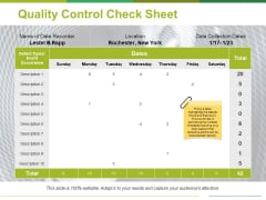 Quality Control Check Sheet Template 2 Ppt PowerPoint Presentation Inspiration Icon