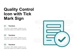 Quality Control Icon With Tick Mark Sign Ppt PowerPoint Presentation File Rules PDF