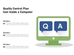 Quality Control Plan Icon Inside A Computer Ppt PowerPoint Presentation File Background PDF