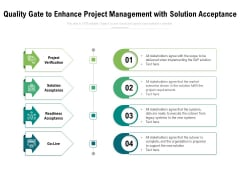 Quality Gate To Enhance Project Management With Solution Acceptance Ppt PowerPoint Presentation Outline Ideas PDF