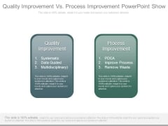 Quality Improvement Vs Process Improvement Powerpoint Show