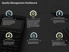 Quality Management Dashboard Ppt PowerPoint Presentation Icon Images