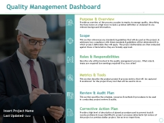 Quality Management Dashboard Ppt PowerPoint Presentation Ideas Template