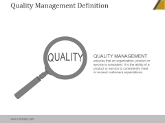Quality Management Definition Ppt PowerPoint Presentation Clipart