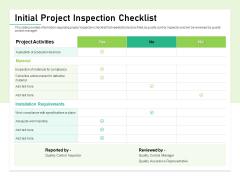 Quality Management Plan QMP Initial Project Inspection Checklist Topics PDF