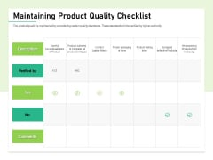 Quality Management Plan QMP Maintaining Product Quality Checklist Structure PDF