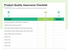 Quality Management Plan QMP Product Quality Assurance Checklist Ppt Icon Format PDF