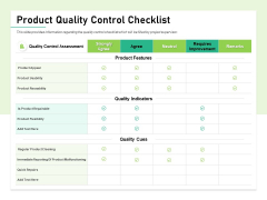 Quality Management Plan QMP Product Quality Control Checklist Ppt Infographic Template Background PDF