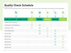 Quality Management Plan QMP Quality Check Schedule Ppt Infographic Template Format Ideas PDF