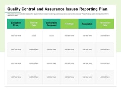 Quality Management Plan QMP Quality Control And Assurance Issues Reporting Plan Download PDF