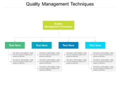 Quality Management Techniques Ppt PowerPoint Presentation Ideas Background Images Cpb