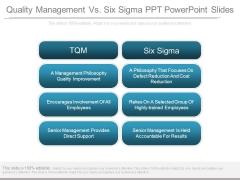 Quality Management Vs Six Sigma Ppt Powerpoint Slides