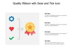 Quality Ribbon With Gear And Tick Icon Ppt PowerPoint Presentation File Graphics Pictures