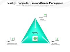 Quality Triangle For Time And Scope Managemet Ppt PowerPoint Presentation Show Designs PDF
