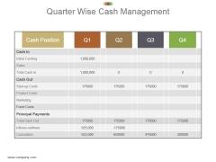 Quarter Wise Cash Management Powerpoint Slide Rules