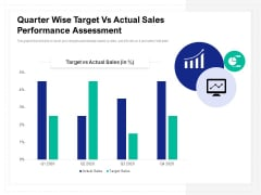 Quarter Wise Target Vs Actual Sales Performance Assessment Ppt PowerPoint Presentation File Portfolio PDF