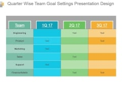 Quarter Wise Team Goal Settings Presentation Design