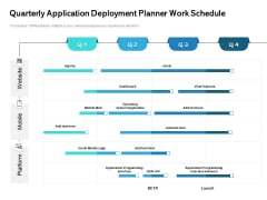 Quarterly Application Deployment Planner Work Schedule Rules