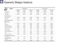Quarterly Budget Analysis Ppt PowerPoint Presentation Outline Background Image