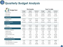 Quarterly Budget Analysis Ppt PowerPoint Presentation Outline Good