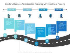 Quarterly Business Administration Roadmap With Investment Planning Diagrams