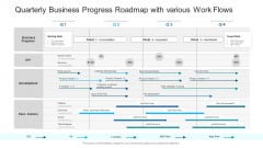 Quarterly Business Progress Roadmap With Various Work Flows Information PDF