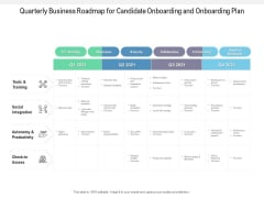 Quarterly Business Roadmap For Candidate Onboarding And Onboarding Plan Background