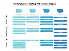 Quarterly Business Roadmap With Customer Mapping Icons