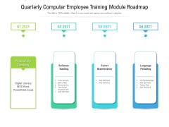 Quarterly Computer Employee Training Module Roadmap Icons