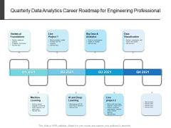 Quarterly Data Analytics Career Roadmap For Engineering Professional Diagrams
