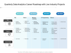 Quarterly Data Analytics Career Roadmap With Live Industry Projects Template