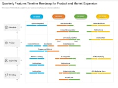 Quarterly Features Timeline Roadmap For Product And Market Expansion Brochure