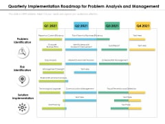 Quarterly Implementation Roadmap For Problem Analysis And Management Icons