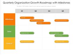 Quarterly Organization Growth Roadmap With Milestones Summary