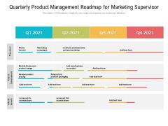 Quarterly Product Management Roadmap For Marketing Supervisor Themes