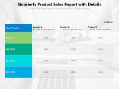 Quarterly Product Sales Report With Details Ppt PowerPoint Presentation Outline Introduction PDF
