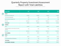 Quarterly Property Investment Assessment Report With Total Liabilities Ppt PowerPoint Presentation Styles Visual Aids PDF