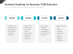 Quarterly Roadmap For Business ITSM Execution Ideas