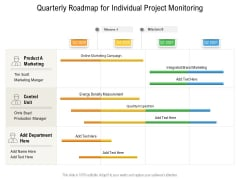 Quarterly Roadmap For Individual Project Monitoring Template