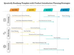 Quarterly Roadmap Template With Product Introduction Planning Strategies Diagrams