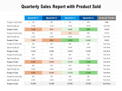 Quarterly Sales Report With Product Sold Ppt PowerPoint Presentation Icon Maker
