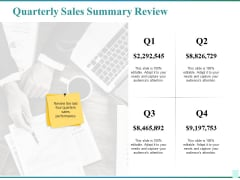 Quarterly Sales Summary Review Ppt PowerPoint Presentation Infographics Graphics Template